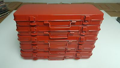 "5 Vintage Old Red Steel Socket Tray Boxes for Tools or Parts 11""X5""x1"" EMPTY!!"