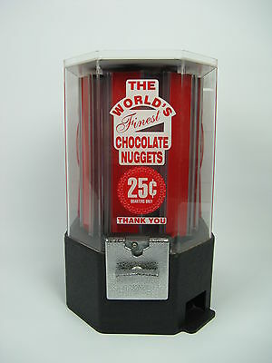 Vtg The World's Finest Chocolate Nuggets Vending Candy Machine Plastic Red White