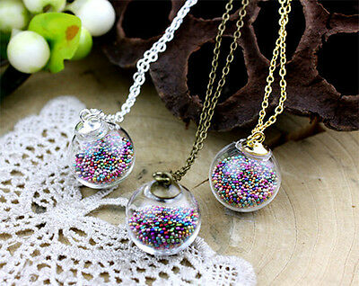 Silver Bronze Glass Globe Pendant Kit 16mm Round - Terrarium Kit, DIY Necklace