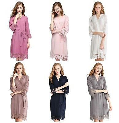Rayon Cotton Wedding Lace Bridal Party Robe Bridesmaid Robe Bride Dressing Gown
