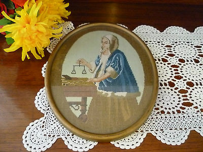 Petit Point Cross Stitch Continental Embroidered Wood Frame Oval Pictures 1920's