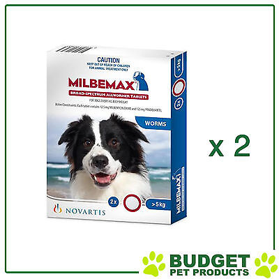 *** Combo *** Milbemax Allwormer For Dogs Over 5kg 2 Tablets X 2