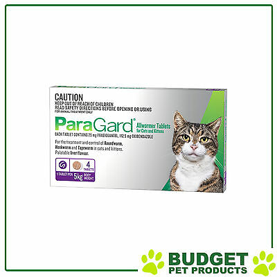 Paragard Allwormer For Cats & Kittens 5kg 4 tablets