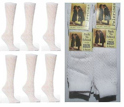 Girls Ladies White Pelerine 3/4 High Socks School Uniform Toddler 3,6,12 Pairs