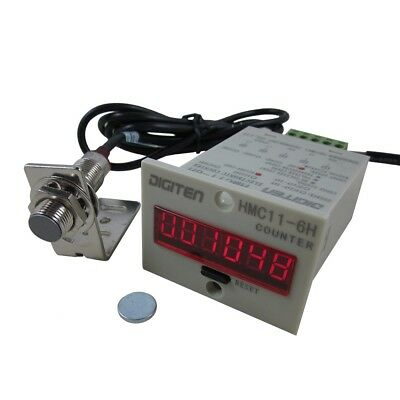 6-Digit 12V-24DC 999999 LED Display Digital UP Counter+Hall Proximity sensor