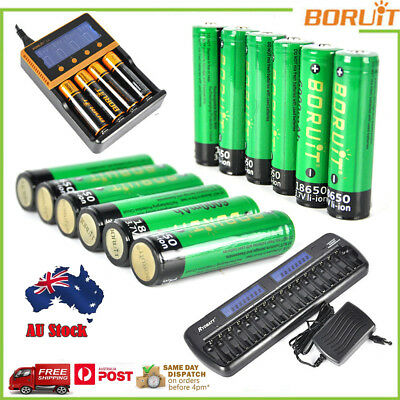 Rechargeable 6000/4000mAh 18650 3.7V Li-ion Battery+i4 Charger for AA/AAA NiMH/N