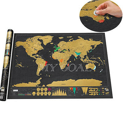 Travel Edition Scratch Off World Map Poster Deluxe Tour Journal Log Gift Decor