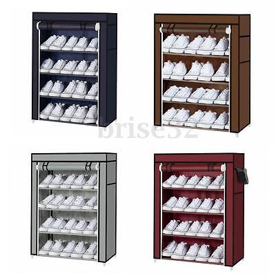 Home 4Tier Canvans Covers Shoes Storage Organizer Shoe Clothes Rack Stand Shelf