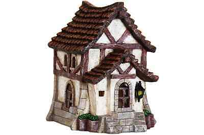 Miniature Dollhouse FAIRY GARDEN ~ Solar Thatched Roof House ~ NEW