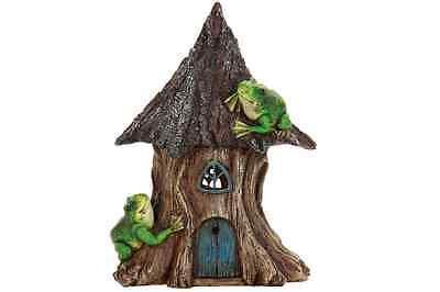 Miniature Dollhouse FAIRY GARDEN ~ Solar Pine House with Frogs ~ NEW