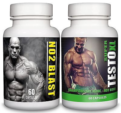 SUPER TESTO XL + NO2 BLAST Advanced Muscle Gain Testosterone Booster 60 Capsules