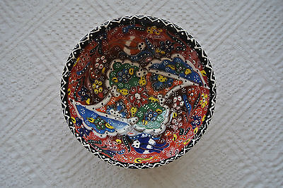 Turkish Kutahya Tile Bowl Porcelain Ottoman Arts 16 cm Embossed  Handmade-15