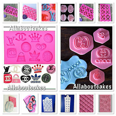 Designer Logos,Silicone Mould,Fimo Chocolate,Embosser,Stencil,Stamps,Cake Topper
