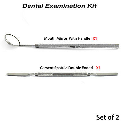 Mixing Cement Spatula Mouth Mirror With Handle Dental Examination Basic Kit New