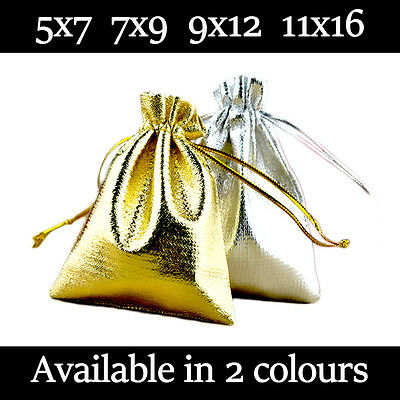 Small Satin Gift Pouches Wedding Favour Bag Jewellery Pouch 2 Colours & 4 Sizes