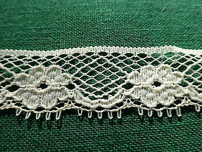 "Antique Vintage 19c Lace Chemical Schiffli off white Trim 43"" x 3/4"" Floral"