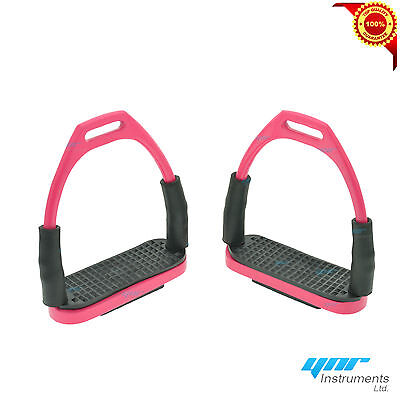 Ynr Flexi Safety Stirrups Horse Riding Bendy Irons S/steel Pink Color