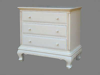 French Chateau  Style Reproduction 3 Drawer Chest Painted Antique White