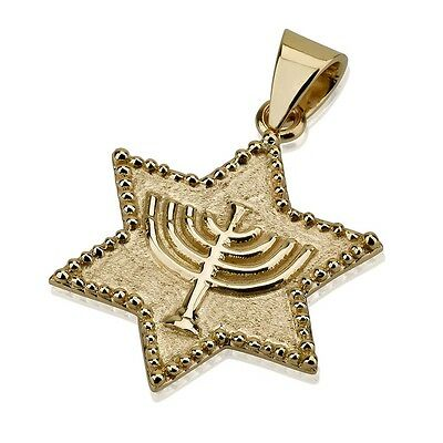 14k Yellow Gold Star of David Menorah Pendant Embossed Jewish Charm 14x14mm