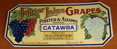 Antique Grapes Crate Label Finger Lakes Porter & Adams Catawba Caywood NY