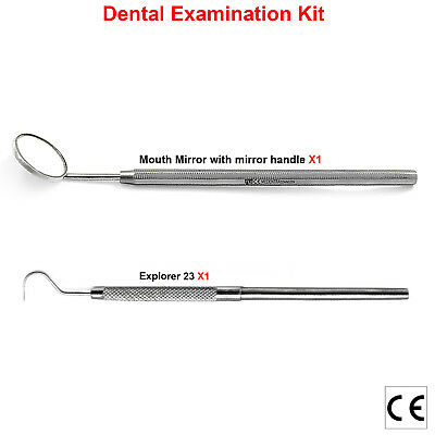 Hygiene Dental Mouth Mirror With Handle Explorer Hook Shape Probes Lab Tools CE