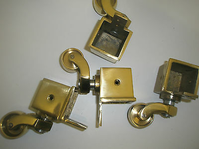 Antique Style Solid Brass Furniture Toe Casters, Wheels  x 4    (CS13245)