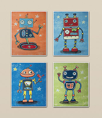 Robot Friends Nursery Wall Art Decor. boys/Kids/baby. M2M mechanical heroes.