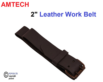 "Leather Work Belt Heavy Duty Professional 2"" Wide 46"" Long 2 Pin Metal Buckle"