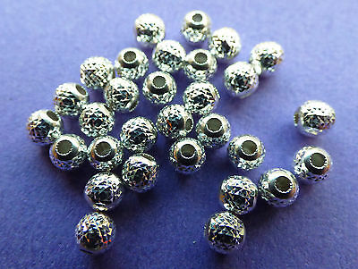 4.0mm 925 Sterling Silver Round faceted Spacer Beads 10pcs.
