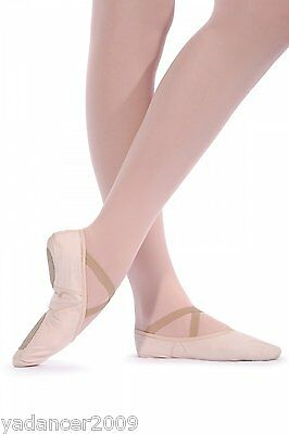 Roch Valley PINK CANVAS BALLET SHOES with Split Suede Sole Size 1 to Adult 8