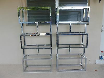 Pair Of Mod Space Age Chromed Aluminium Rectangular Cubed Etageres P # 2