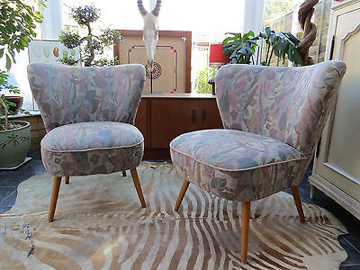 Pair Of Vintage East German Cocktail Chairs C1965 Perfect To Re-Cover (A16/23)