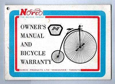 NORCO THE BICYCLE PEOPLE OWNER'S MANUAL AND BICYCLE WARRANTY 1960/80? Canada
