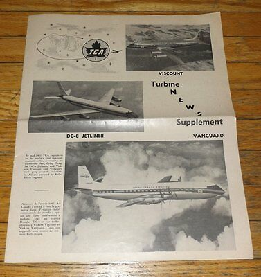 TCA Airline TURBINE NEWS SUPPLEMENT Early 1960s Special VISCOUNT VANGUARD DC-8