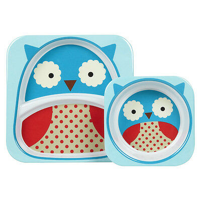 NEW SkipHop Zoo Owl Melamine Mealtime Set 2pce