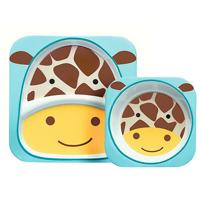 NEW SkipHop Zoo Giraffe Melamine Mealtime Set 2pce