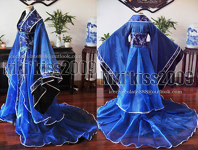 China Kimono Lilac Fairy Black Blue Brocade Dress Cosplay Wedding Han Fu