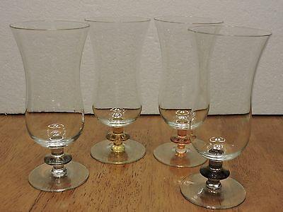 (4) Crystal Hurricane Glasses With Colored Stems