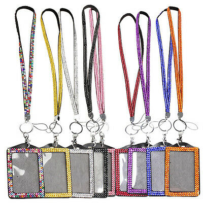 Bling Bling Lanyard Crystal Rhinestone With Claw Clasp Vertical ID Badge Holder