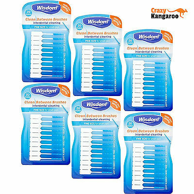 Wisdom Clean Between Interdental Brushes Pack of 20 x 6 (120 brushes)- blue fine
