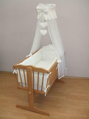 10 Piece Crib Baby Bedding Set 90x40cm Fits Swinging/Rocking Cradle/Hearts White