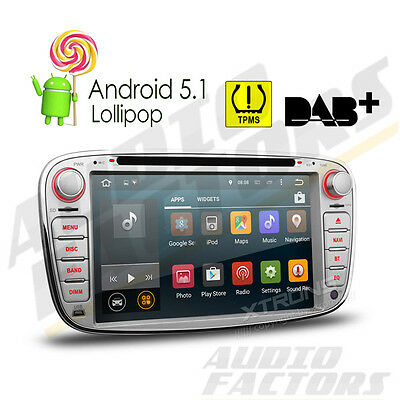 "2 DIN 7"" Android 5.1 Car Sat Nav GPS CD DVD Radio Ford Focus Mondeo S-Max Galaxy"