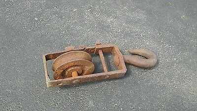 Large Industrial Wrought and Cast Iron Block & Tackle Hook Antique Steampunk
