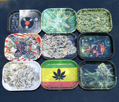Black Leaf Small Mixing Rolling Tray Smoking Accessory Ying Yang Cannabis Leaf