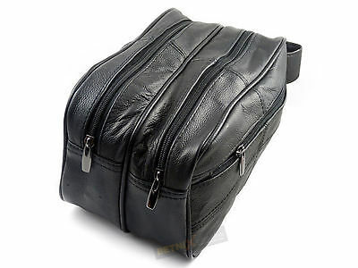 Gents REAL LEATHER TOILETRY BAG Black Large travel wash bag toiletries Mens NEW