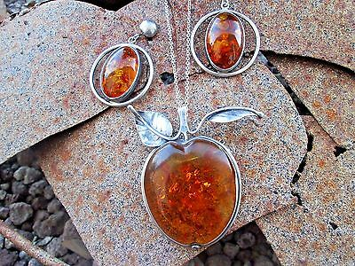 Baltic Amber Brooch Earrings Sterling Silver Hallmarks Inclusions 41.8 grams