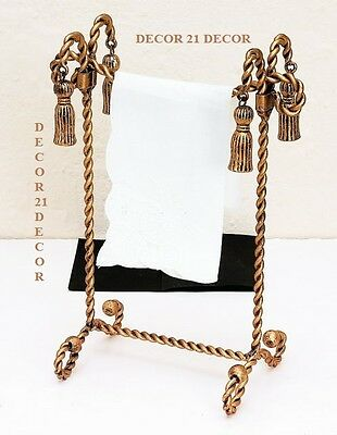 Designer Victorian Twisted Rope Antique Gold Iron Tassel Accent Hand Towel Stand