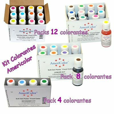 Colorante alimentario Americolor: Pack de 4, Kit de 8, Set de 12 colores