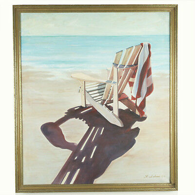 """Untitled (Beach Chair) By Anthony Sidoni 1991 Signed Oil on Canvas 32""""x28"""""""