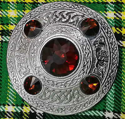 """New Kilt Fly Plaid Brooch Brown Stone Silver Finish 4""""/Celtic Brooches Fly Plaid"""